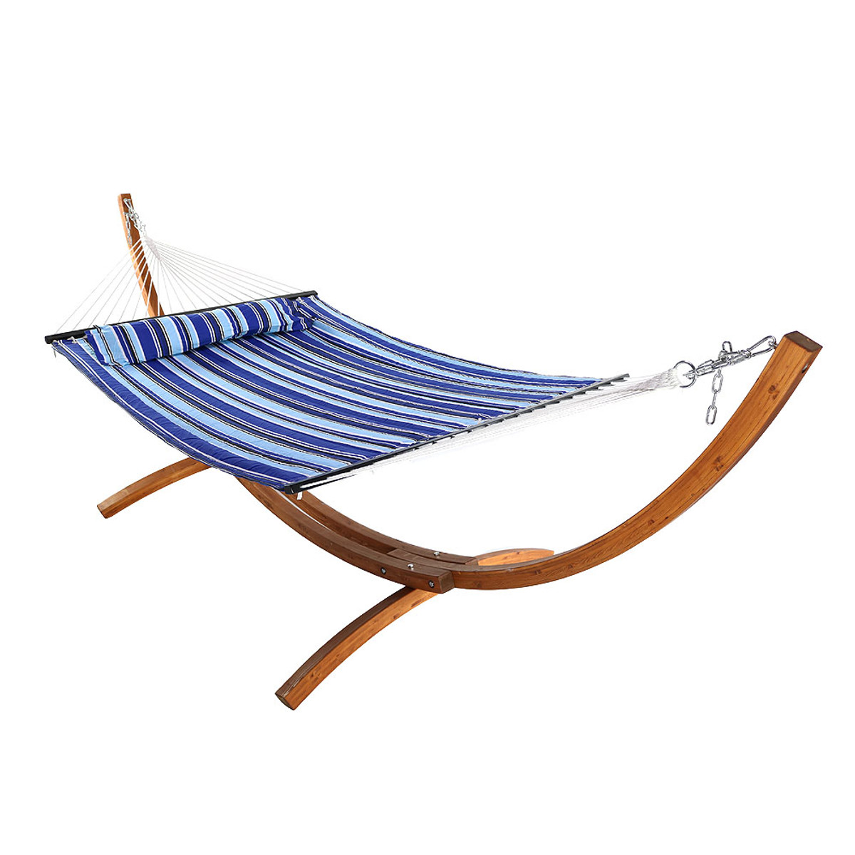 Sunnydaze Quilted Fabric Two Person Hammock With Stand
