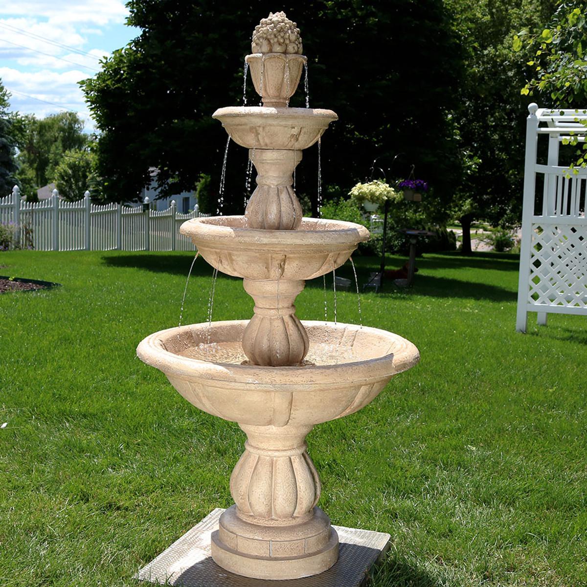 Sunnydaze 3-Tier Cornucopia Outdoor Water Fountain