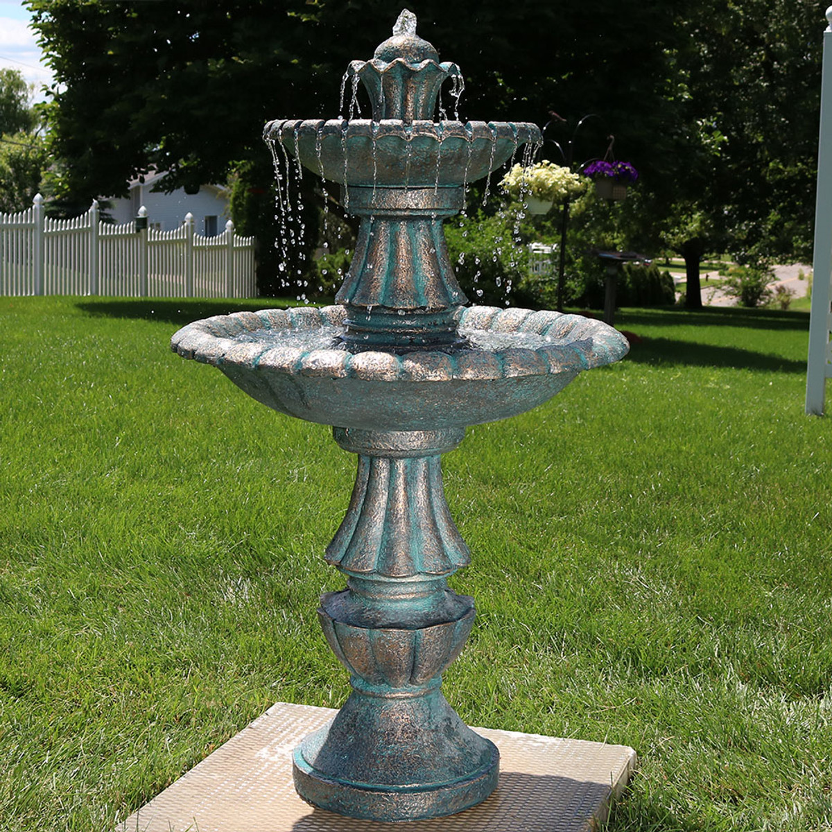 "Sunnydaze 41"" Nouveau Tiered Garden Water Fountain | Water ..."