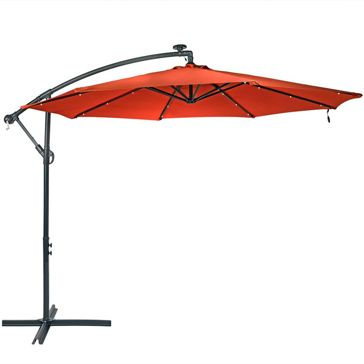 5899cec1be4d Sunnydaze Solar LED 10-Foot Offset Patio Umbrella with Cantilever, Crank,  and Cross Base