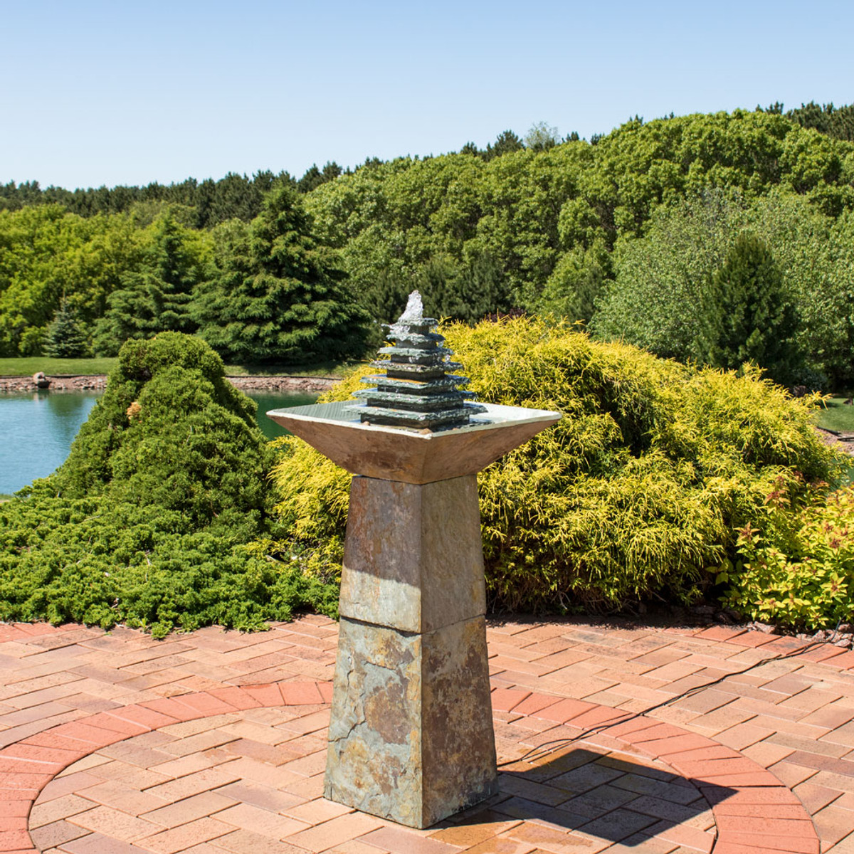 Sunnydaze Layered Slate Pyramid Outdoor Water Fountain with