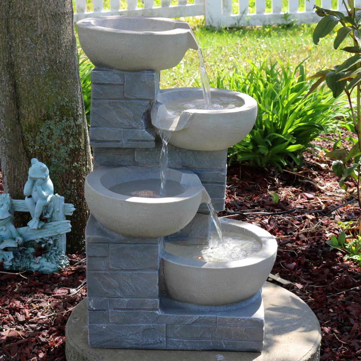 Sunnydaze 4 Tier Descending Stone Bowls Outdoor Water