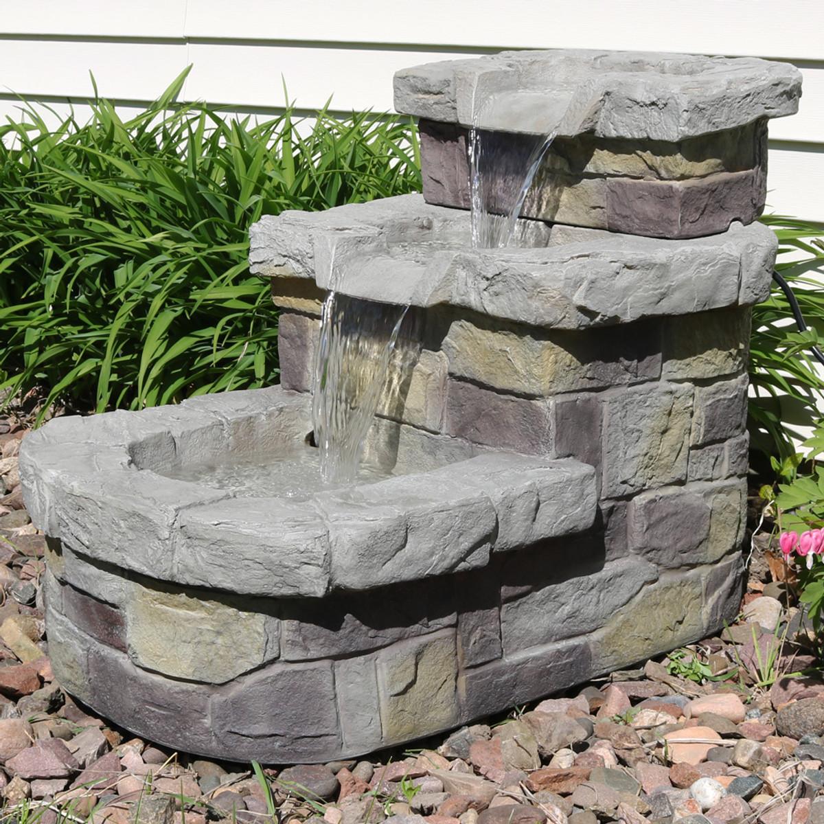 Sunnydaze 3-Tier Brick Steps Outdoor Water Fountain, 21 Inch