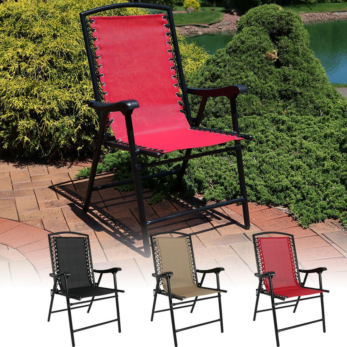 Marvelous Sunnydaze Mesh Outdoor Suspension Folding Patio Lounge Chair Pabps2019 Chair Design Images Pabps2019Com