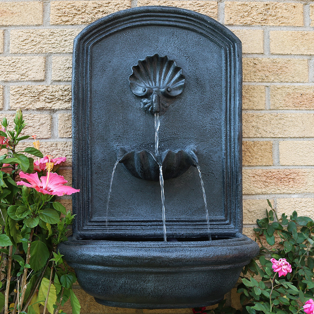 Sunnydaze Seaside Outdoor Wall Fountain With Electric Submersible Pump 27 Inch Tall Water Fountains
