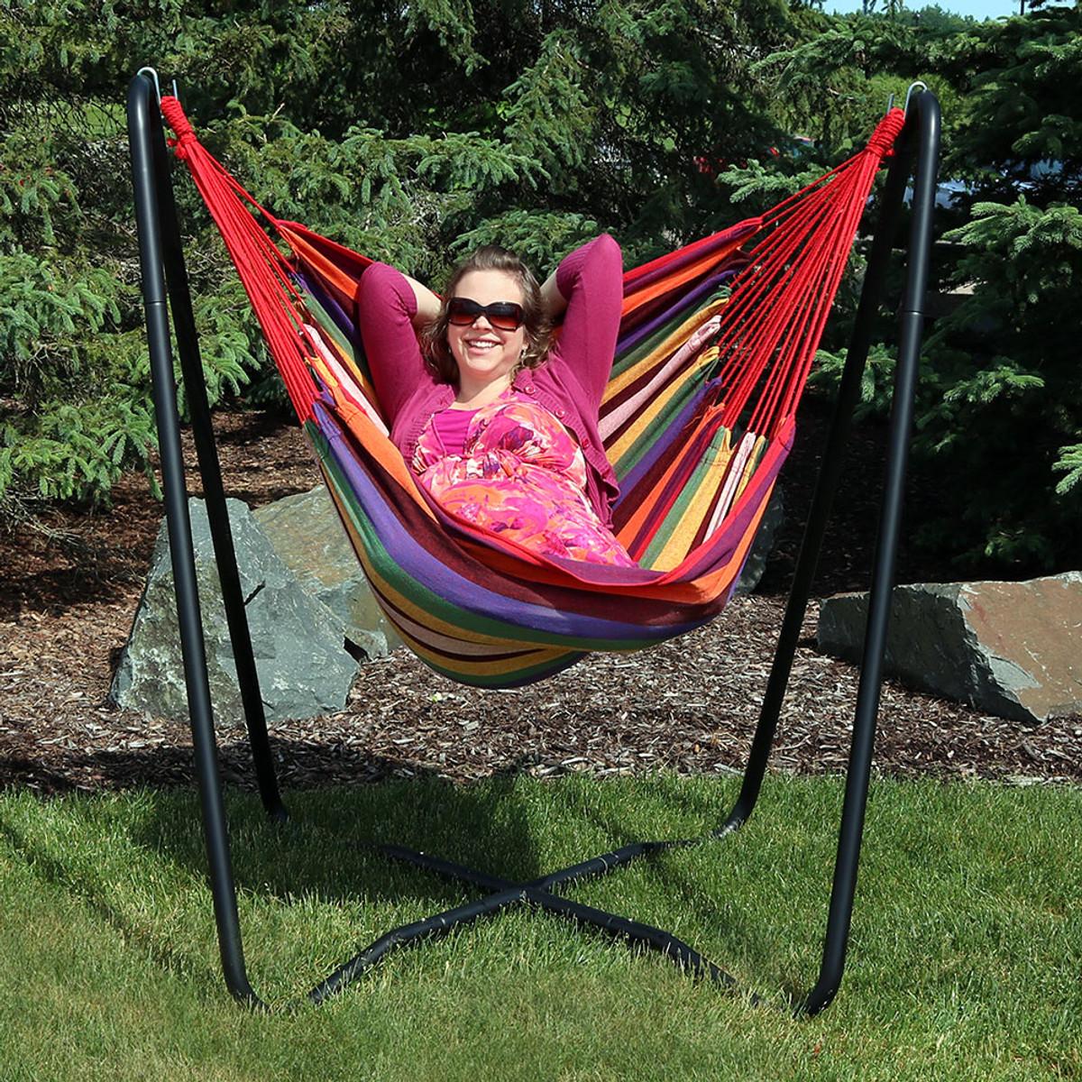 Sunnydaze Indoor-Outdoor Hanging Hammock Chair Swing and X-Stand Set Oasis