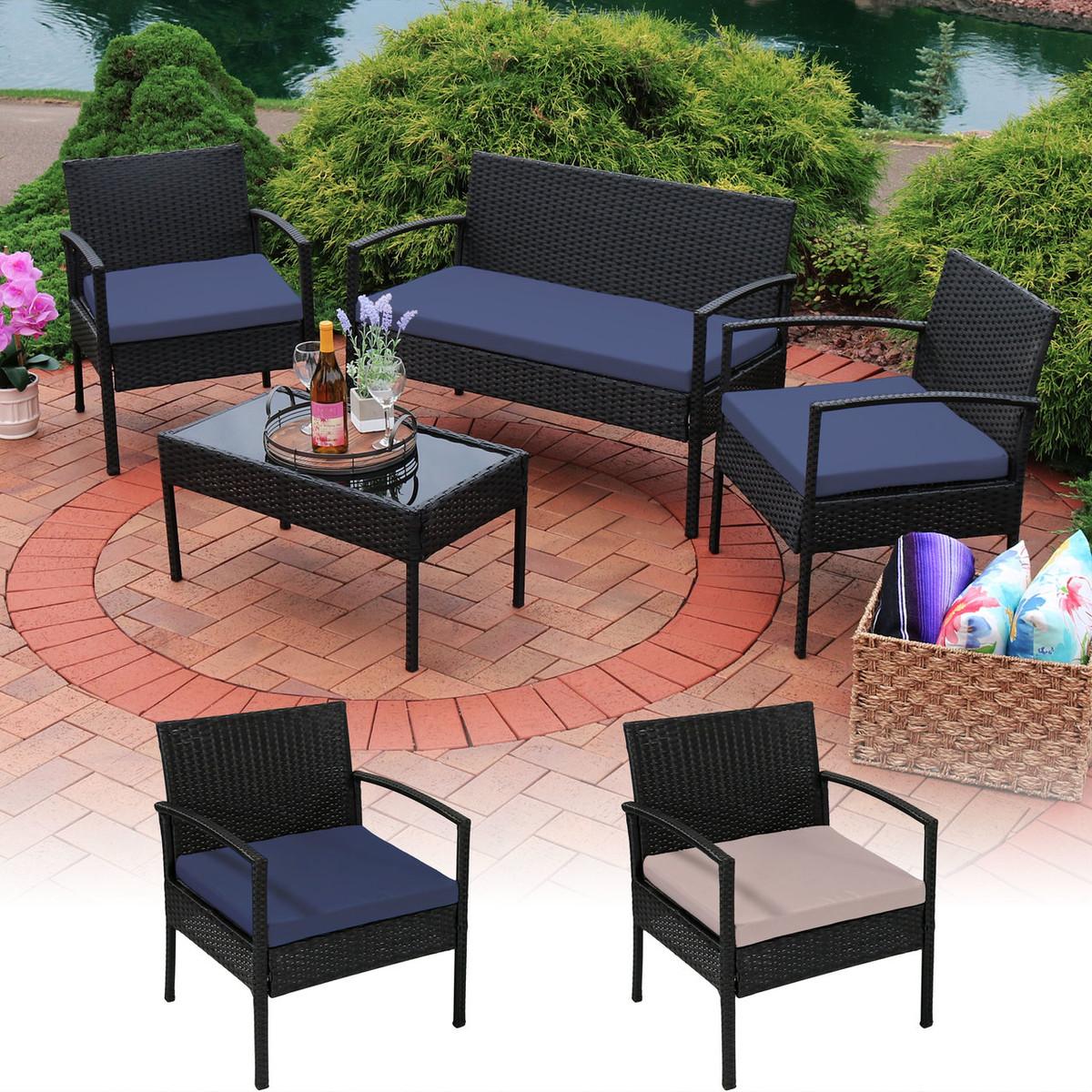 Sunnydaze Anadia 4-Piece Lounger Patio Furniture Set with ...