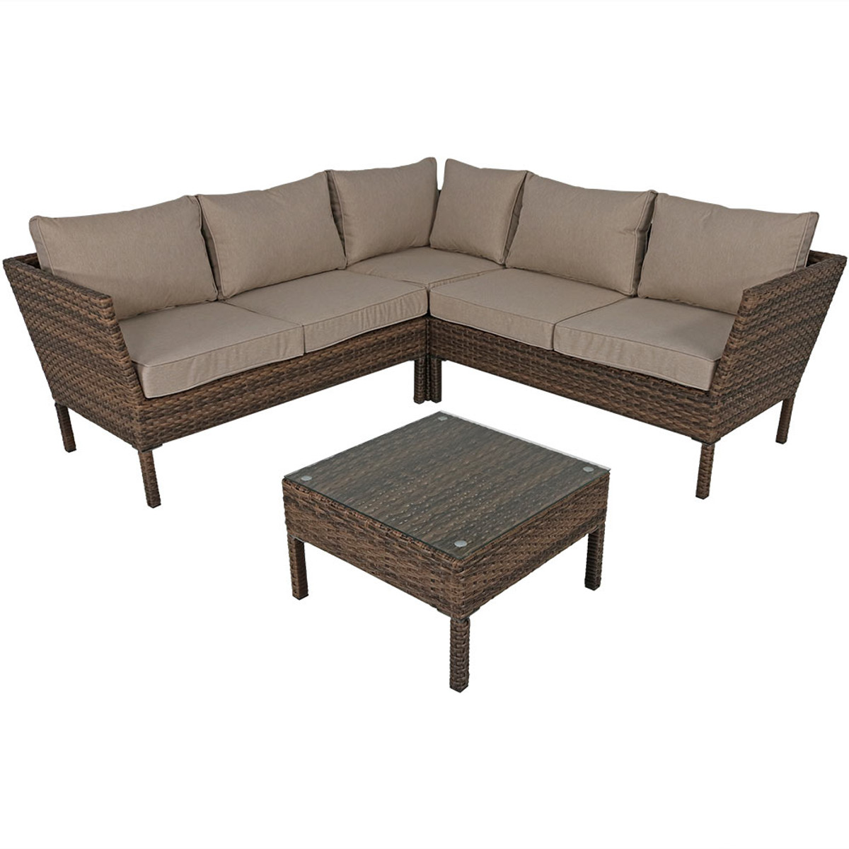 Excellent Sunnydaze Avel 4 Piece Sofa Sectional Patio Furniture Set Inzonedesignstudio Interior Chair Design Inzonedesignstudiocom
