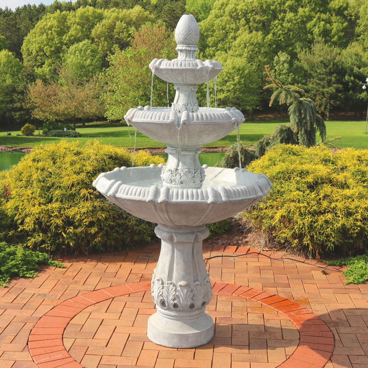 Sunnydaze 3 Tier Gothic Finial Outdoor Garden Water Fountain 73