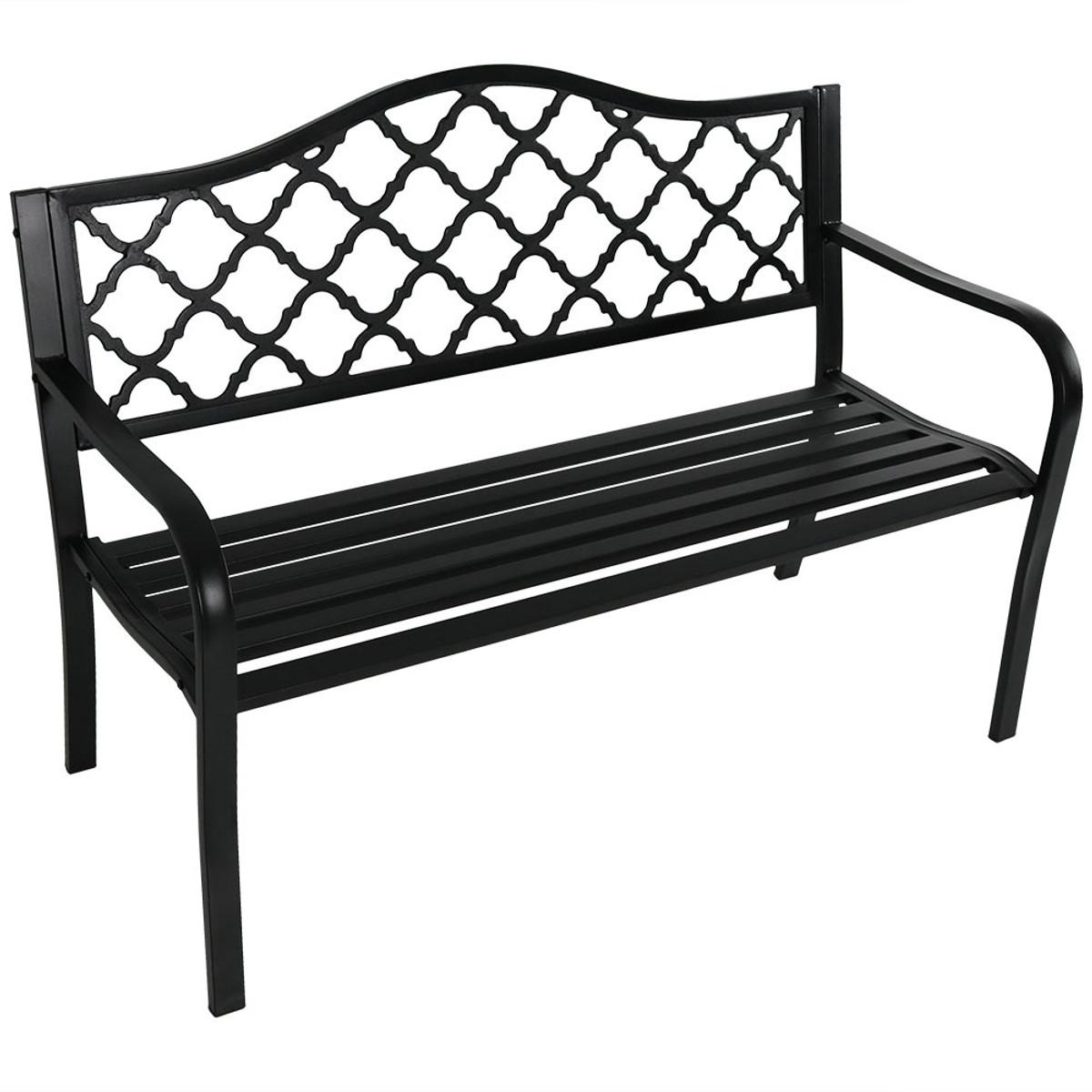 Picture of: Sunnydaze 50 Inch Outdoor Black Cast Iron Lattice Patio Bench