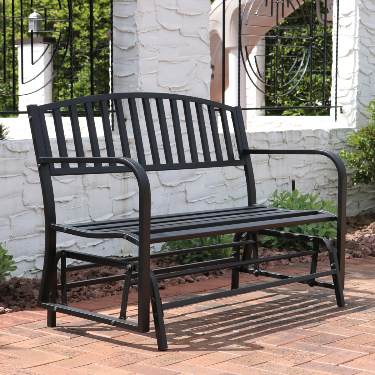 Groovy Sunnydaze Decor Black Steel Outdoor Patio Glider Bench Caraccident5 Cool Chair Designs And Ideas Caraccident5Info