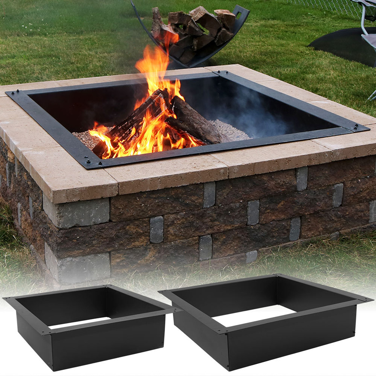 Sunnydaze Square Heavy-Duty Fire Pit Rim/Liner, DIY Fire Pit Above or  In-Ground, Steel - Sunnydaze Decor Heavy-Duty Square Fire Pit Liner