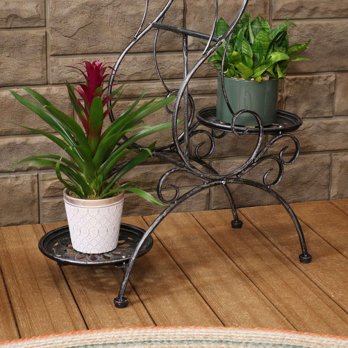 Sunnydaze 3 Tier Victorian Indoor Outdoor Plant And Flower Stand 31 Inch Tall