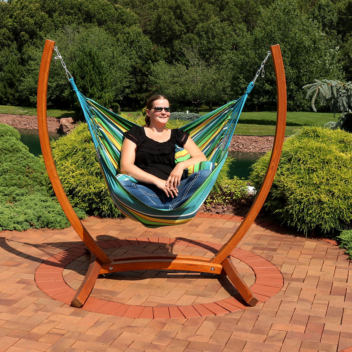 Awe Inspiring Sunnydaze Hanging Hammock Chair Swing With Sturdy Space Short Links Chair Design For Home Short Linksinfo