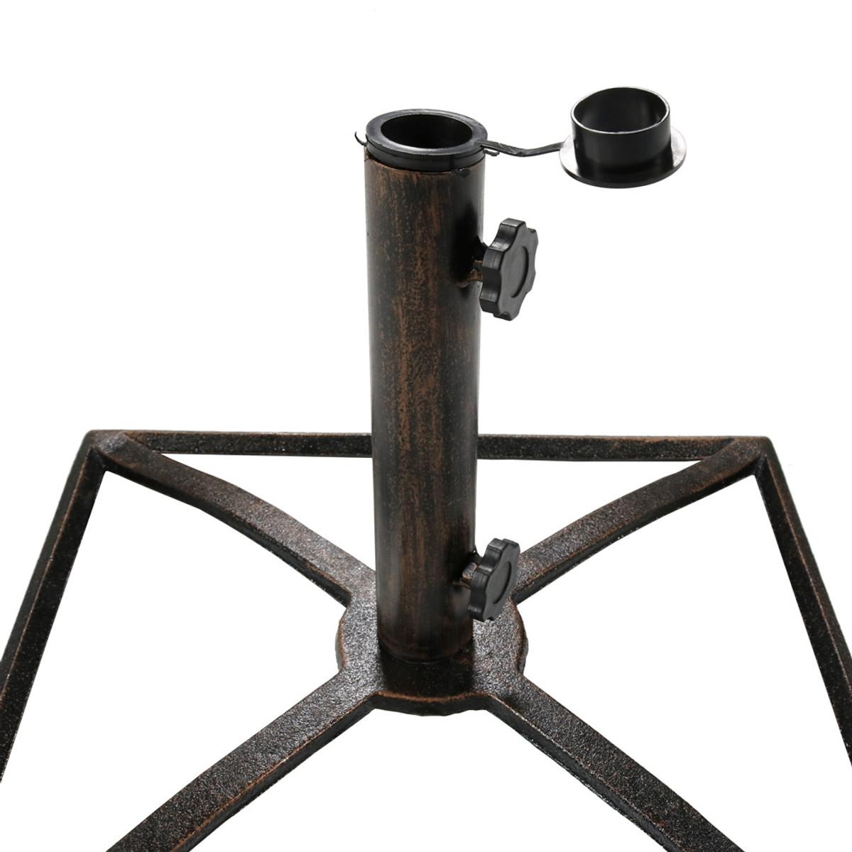 7dade63fee50 Sunnydaze Square Bronze Cast Iron Outdoor Patio Umbrella Base Stand ...
