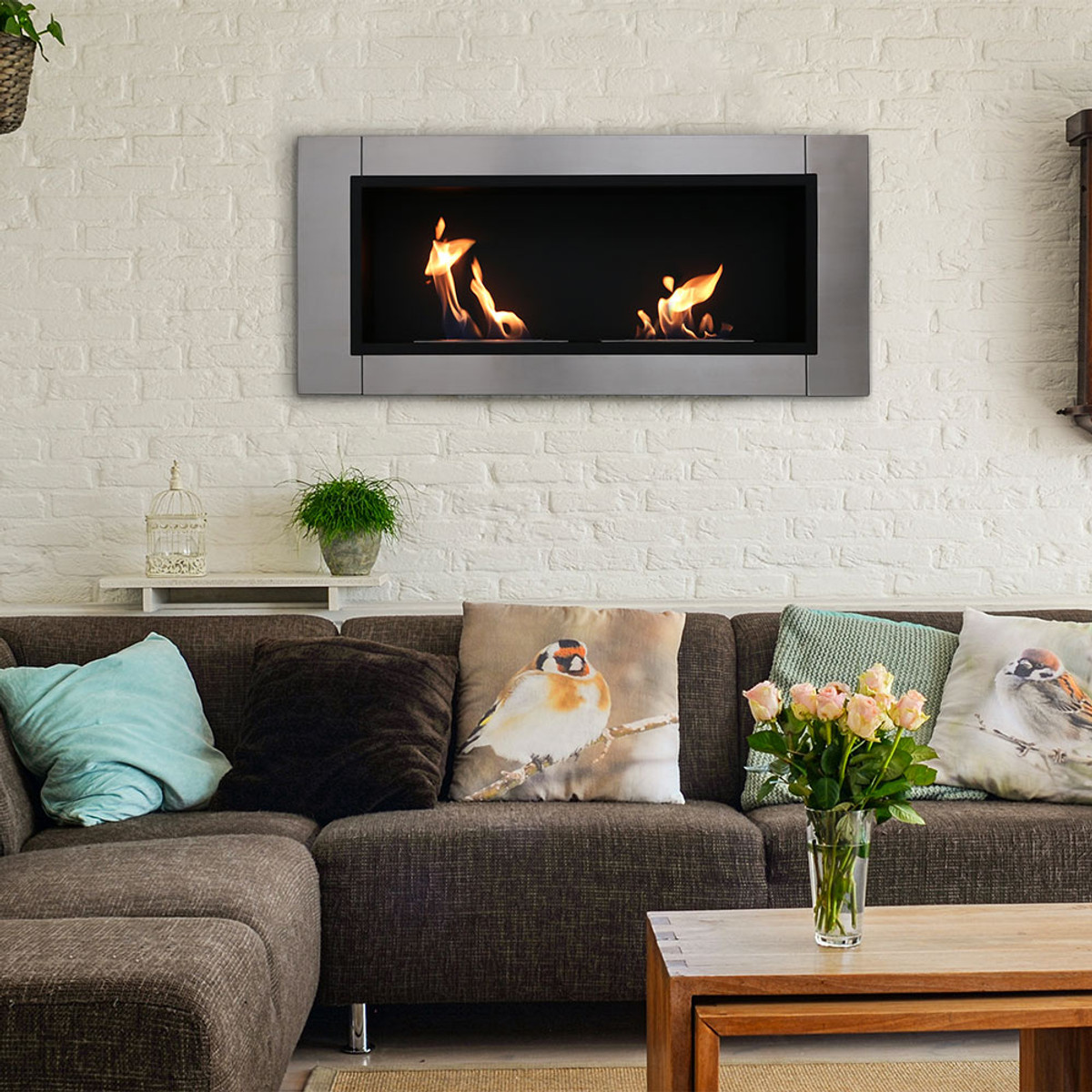 Sunnydaze Scalda Ventless Wall Mounted Bio Ethanol Fireplace 43 Inch