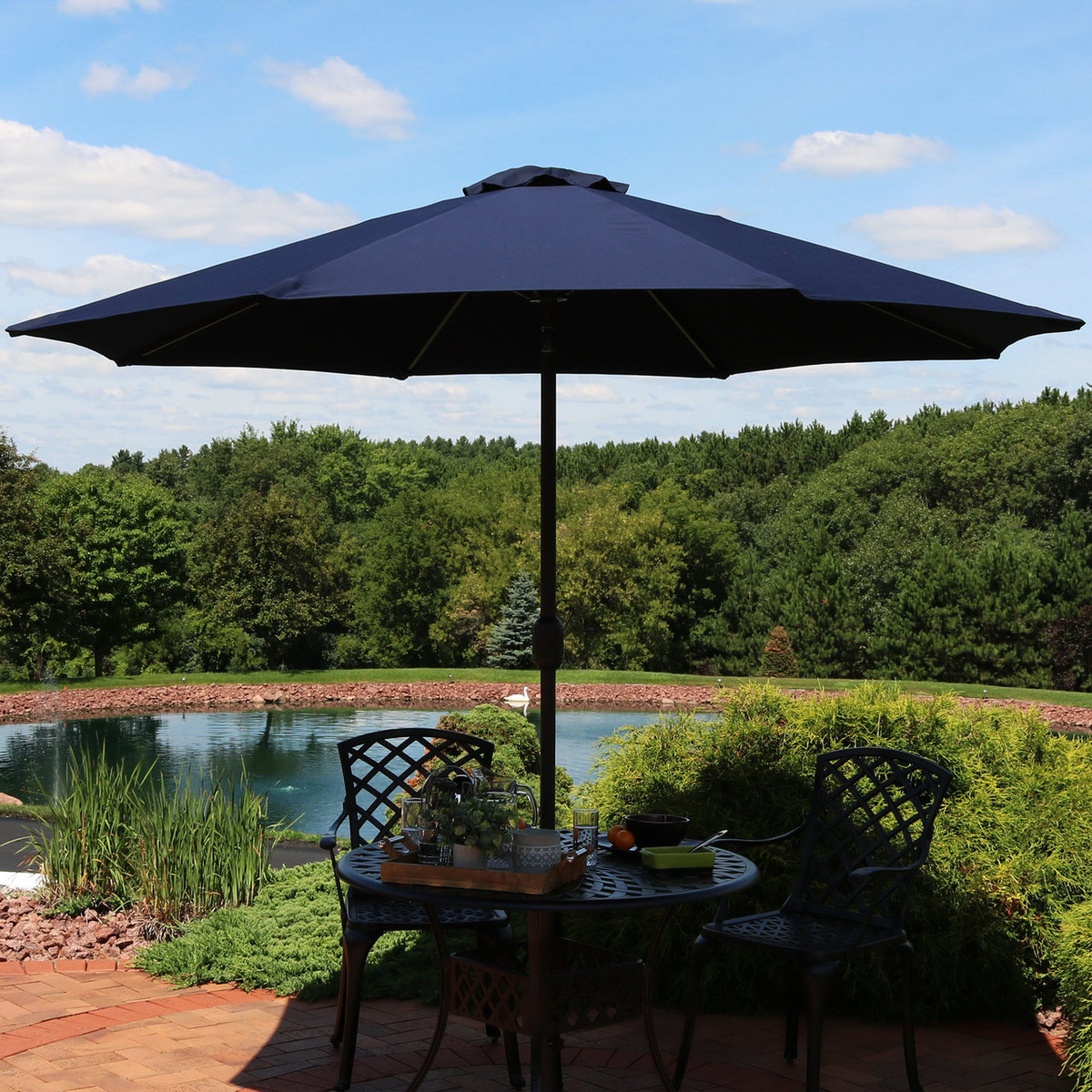 Phenomenal Sunnydaze 9 Foot Aluminum Sunbrella Market Umbrella With Gmtry Best Dining Table And Chair Ideas Images Gmtryco