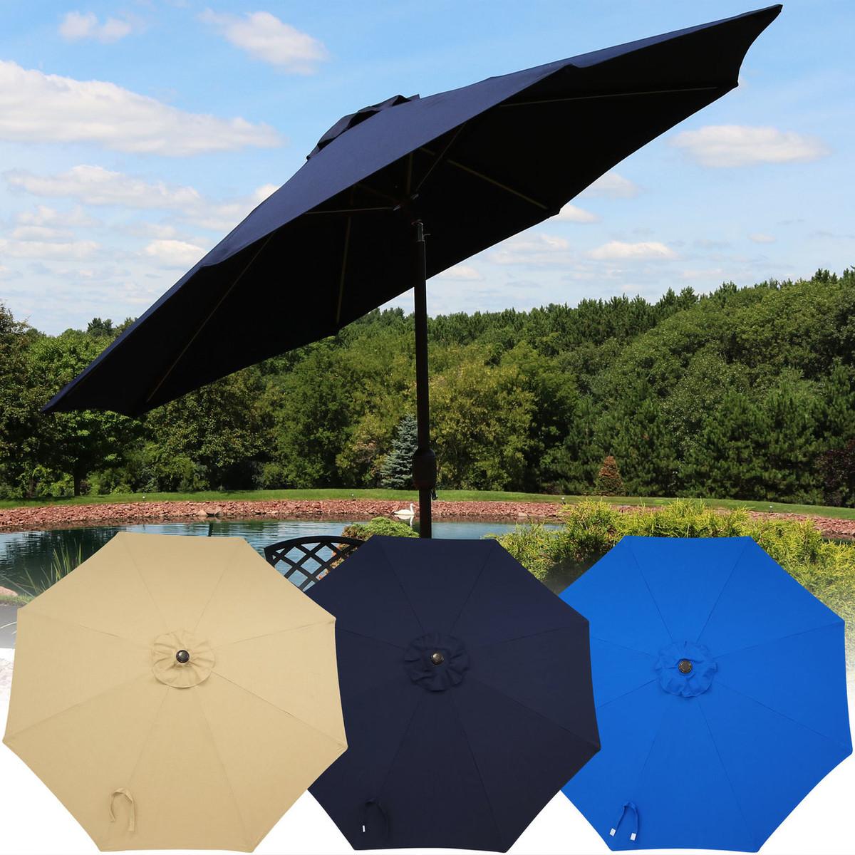 699c61bdbc29d Sunnydaze 9-Foot Aluminum Sunbrella Market Umbrella with Auto Tilt and Crank