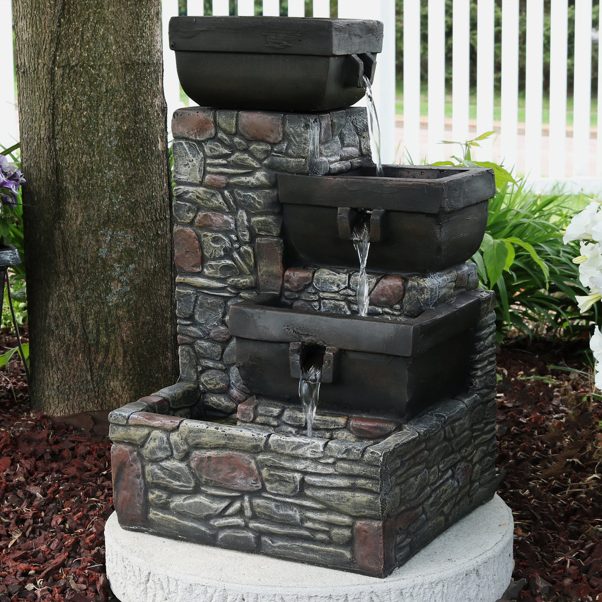 Sunnydaze 4 Tier Stacked Stone Square Bowls Outdoor Water