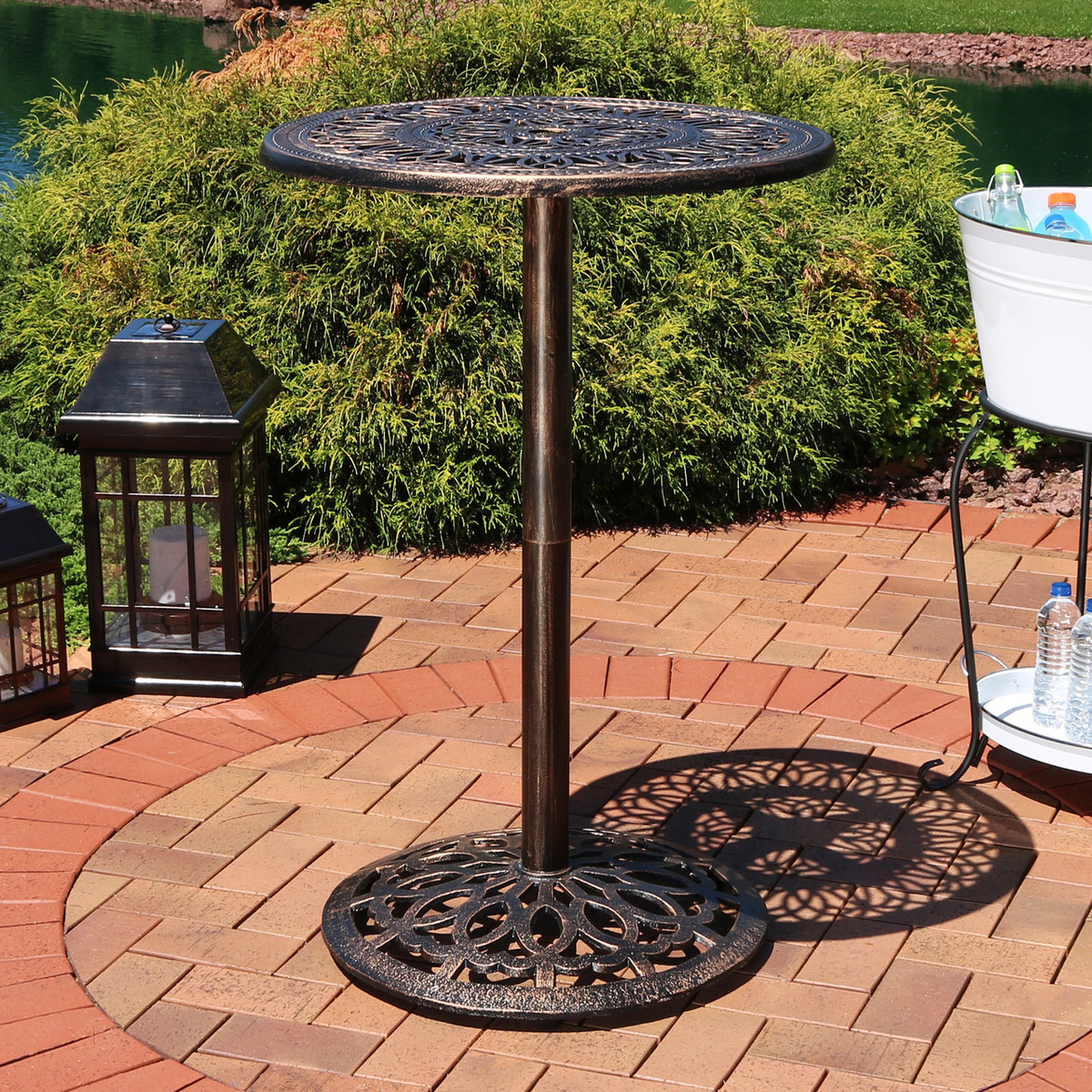 Sunnydaze Bar Height Patio Table Durable Cast Iron 40 Inch Tall Outdoor Round High Top Pub Table 26 Inch Diameter