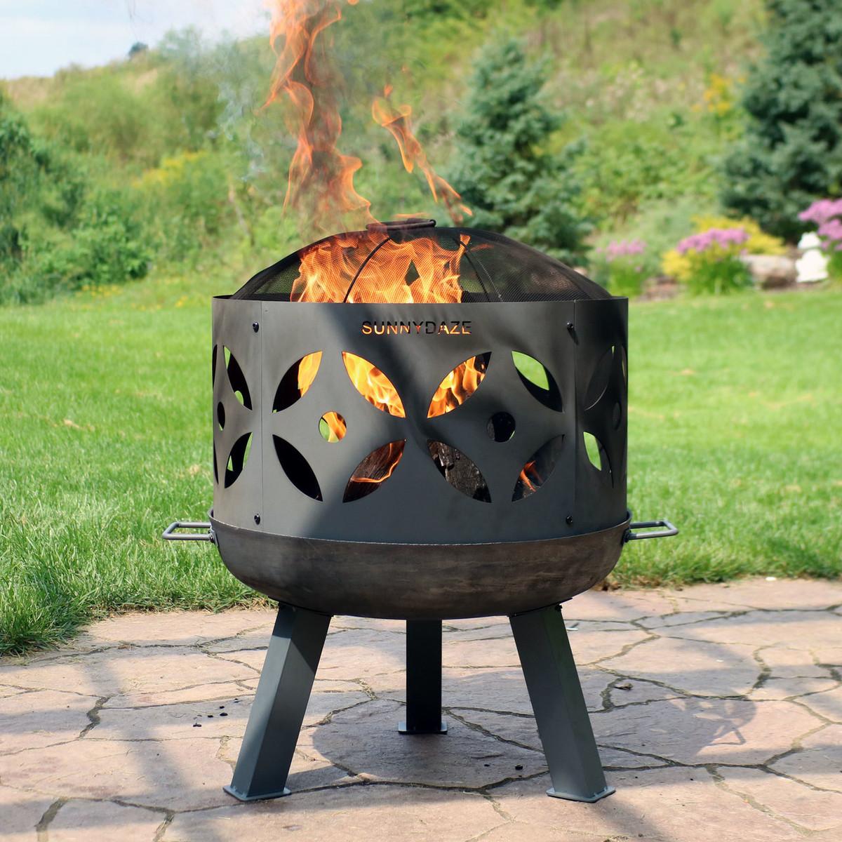Sunnydaze 26 Inch Diameter Retro Cast Iron Outdoor Fire Pit With