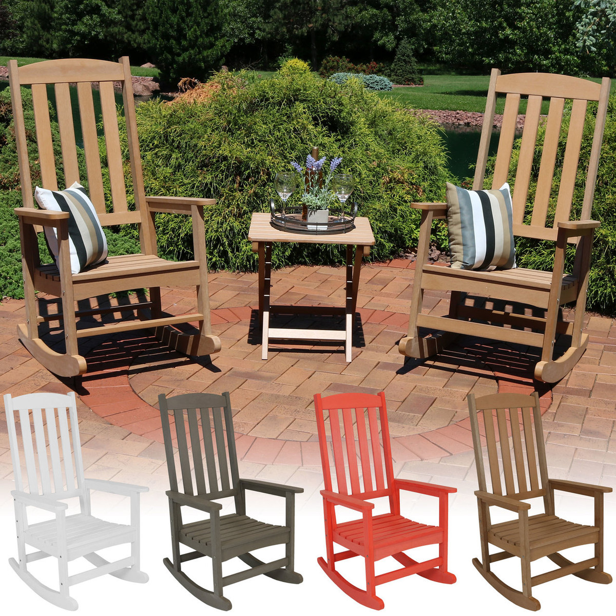Sunnydaze 3 piece all weather patio furniture set 2 rocking chairs and 1 folding side table