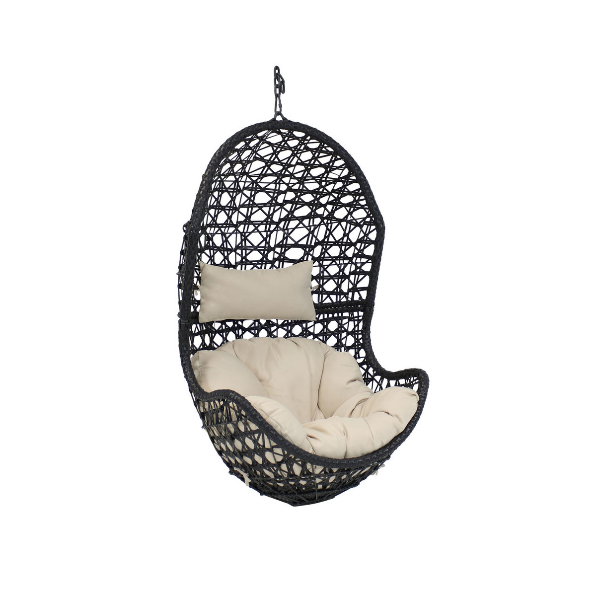 Stupendous Sunnydaze Cordelia Hanging Egg Chair Resin Wicker Large Caraccident5 Cool Chair Designs And Ideas Caraccident5Info