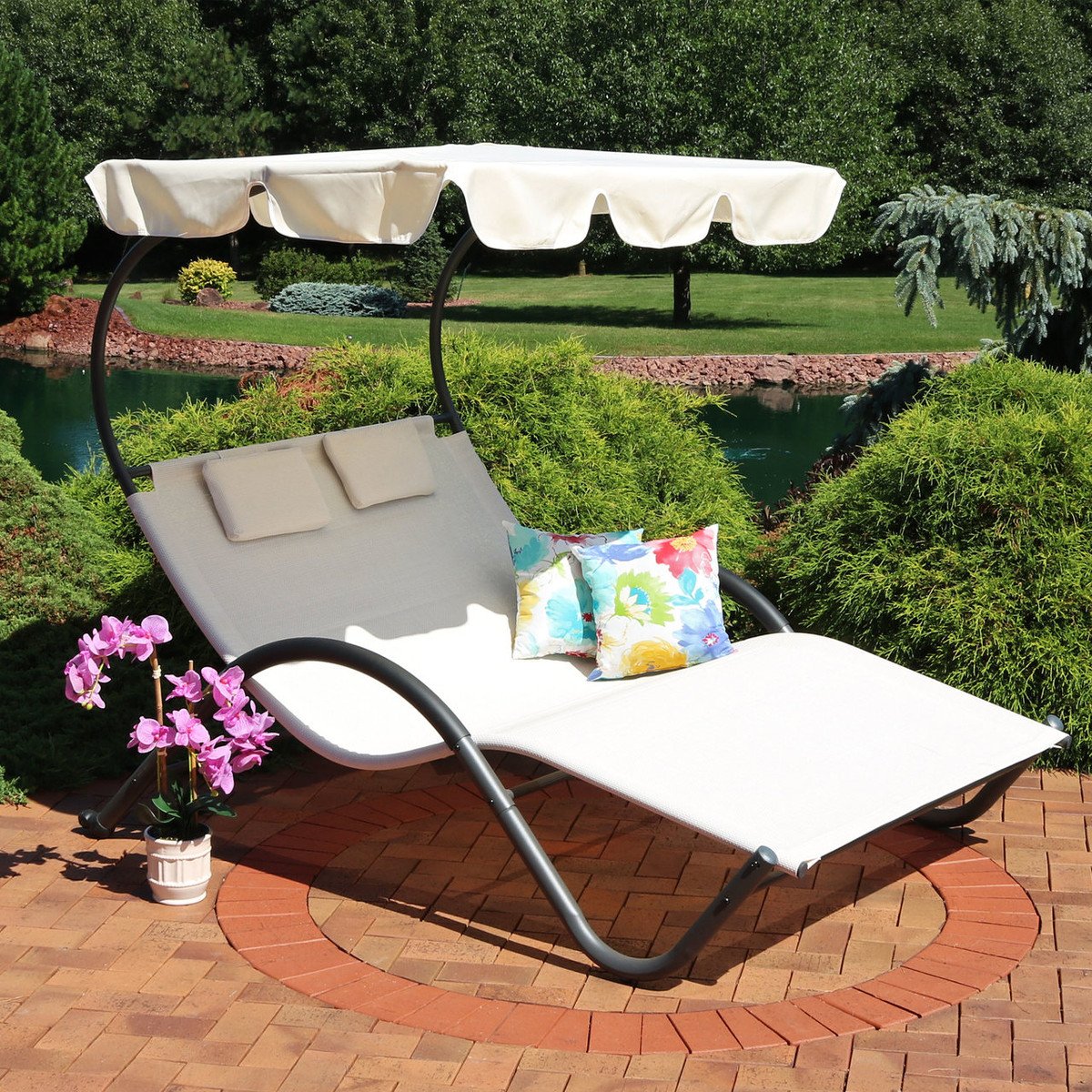 Sunnydaze double chaise lounge with canopy and headrest pillows beige
