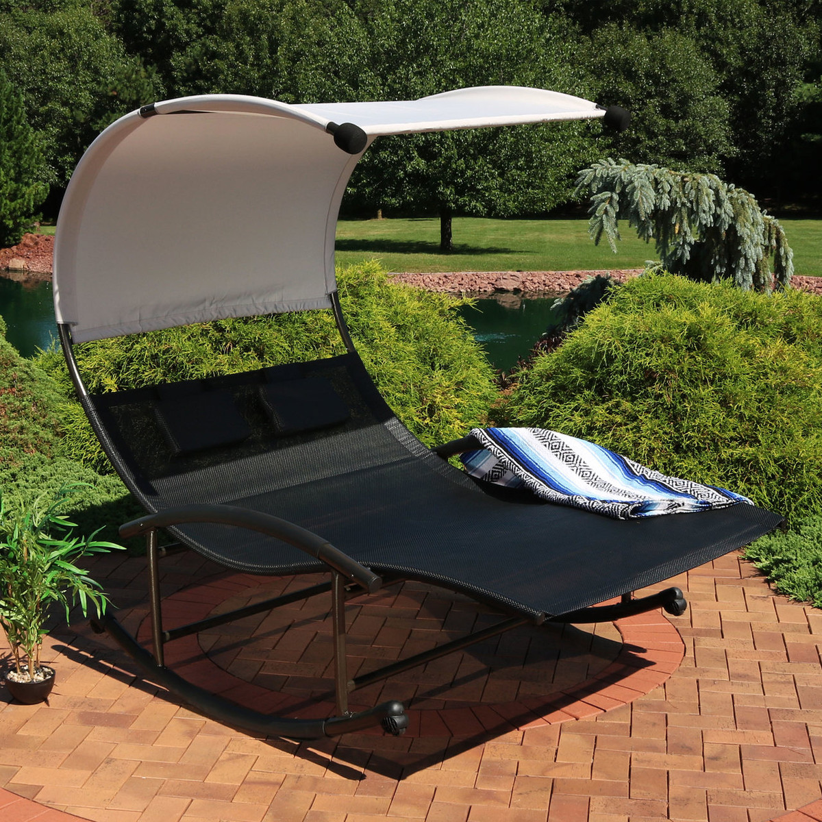 Sunnydaze double chaise rocking lounge chair with canopy and headrest pillows black