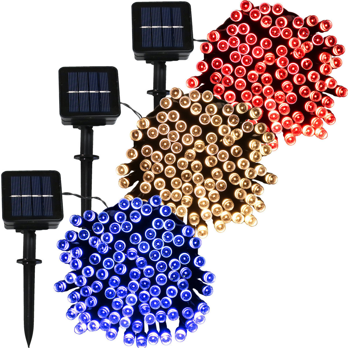 Sunnydaze Led Patrioticsolar Powered String Lights Outdoor