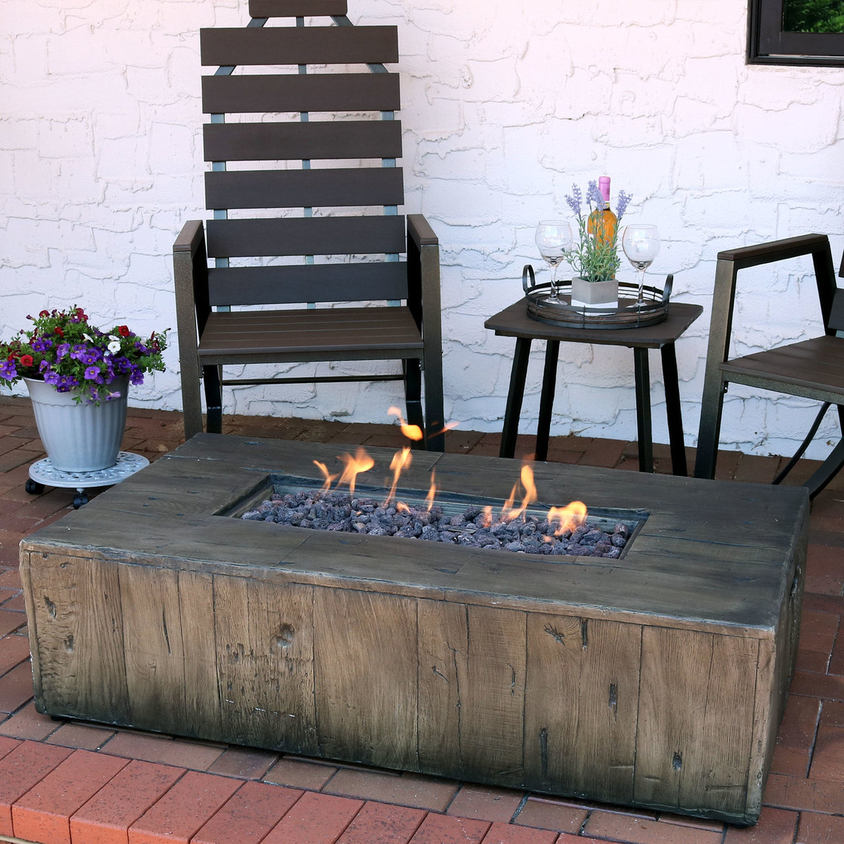 Superb Sunnydaze 48 Inch Rustic Faux Wood Outdoor Propane Gas Fire Unemploymentrelief Wooden Chair Designs For Living Room Unemploymentrelieforg