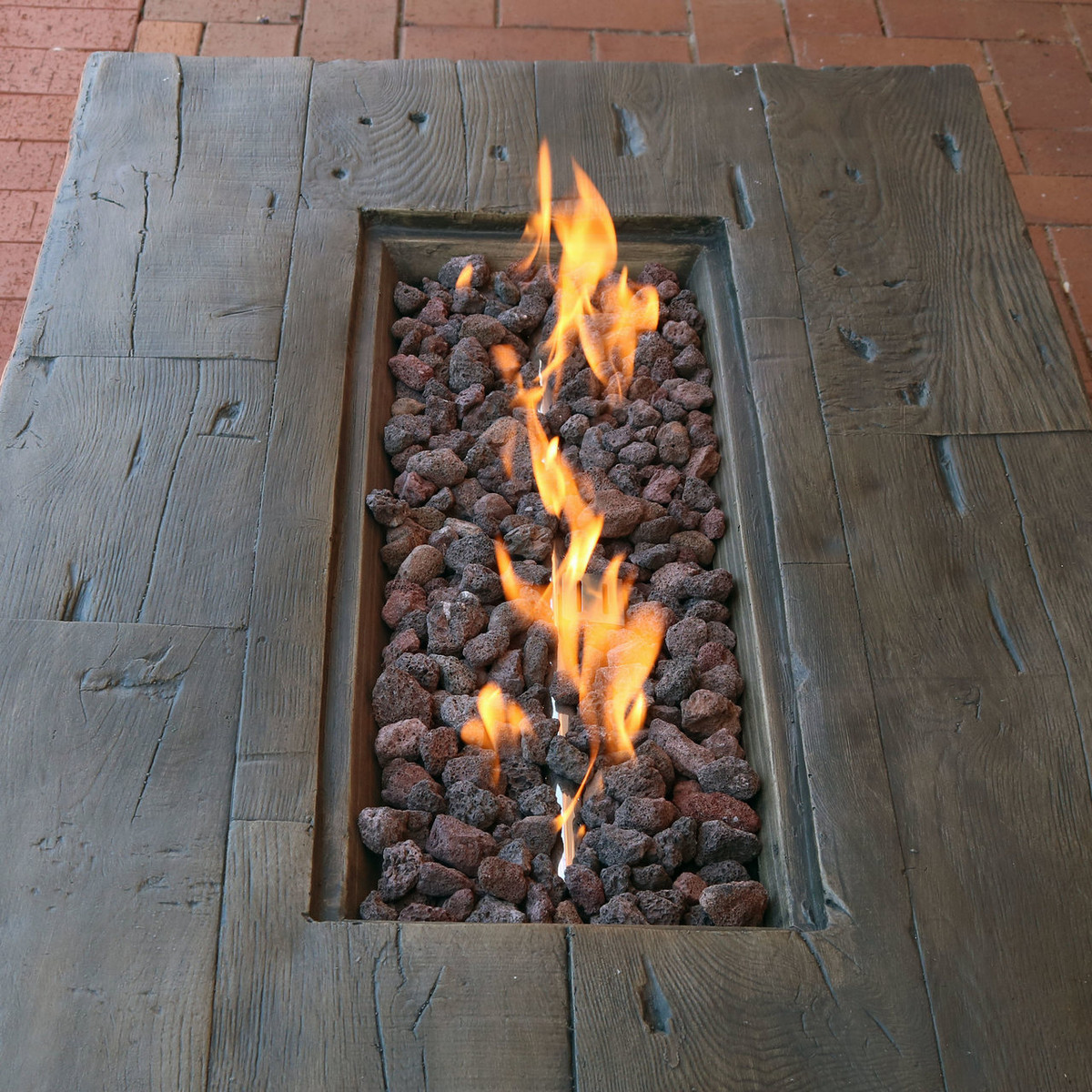 Sunnydaze 48 Inch Rustic Faux Wood Outdoor Propane Gas Fire Pit Table T