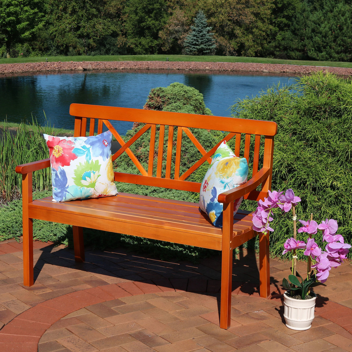 Awesome Sunnydaze 2 Person X Back Outdoor Wood Patio Bench Machost Co Dining Chair Design Ideas Machostcouk