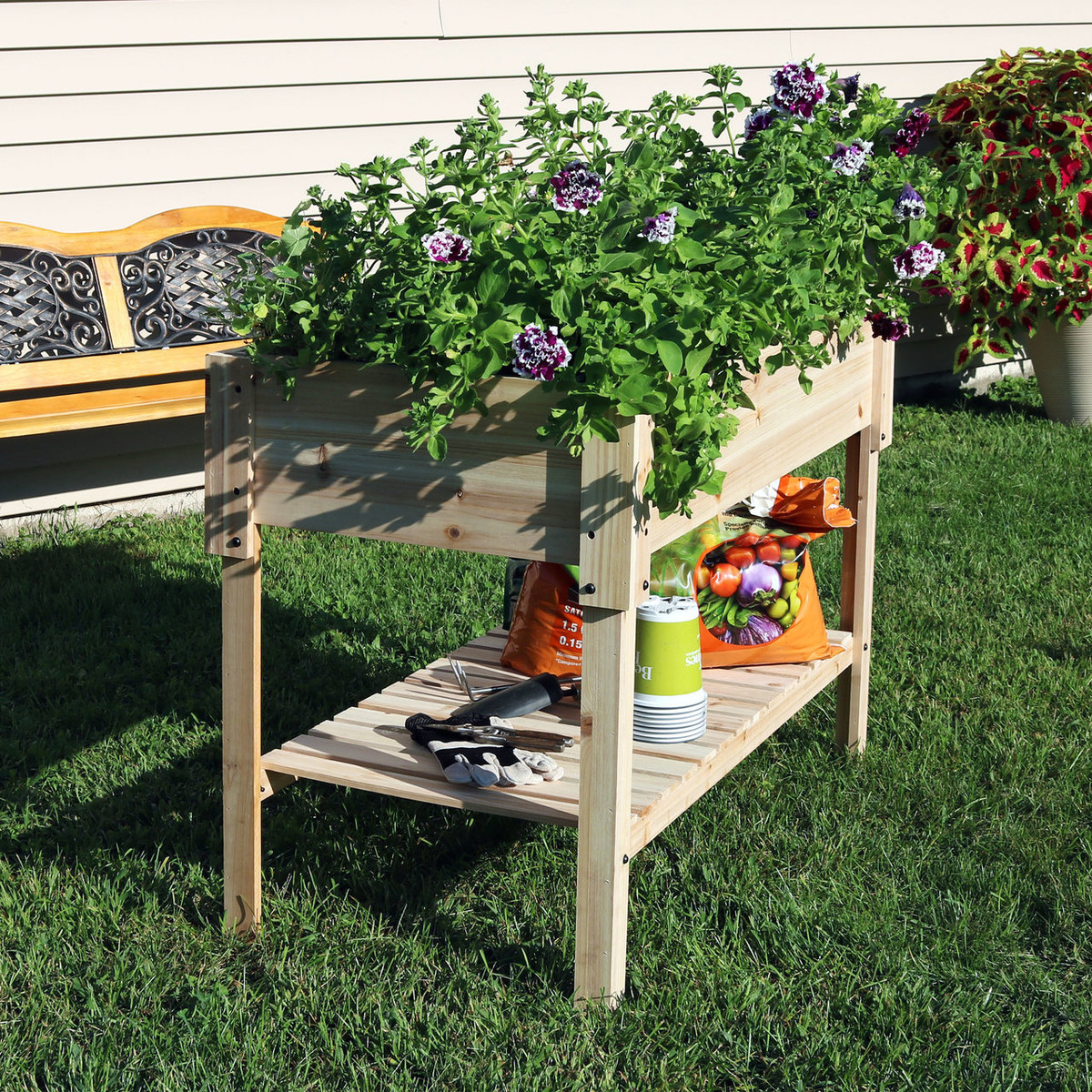 Sunnydaze Raised Wood Garden Bed Planter Box With Shelf 30 Inch Tall