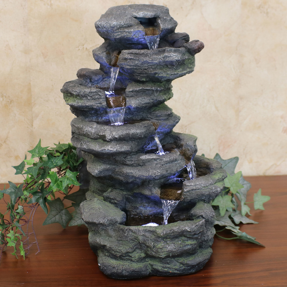 Sunnydaze Stacked Rock Waterfall Outdoor Water Fountain With Led Lights 18 Inch