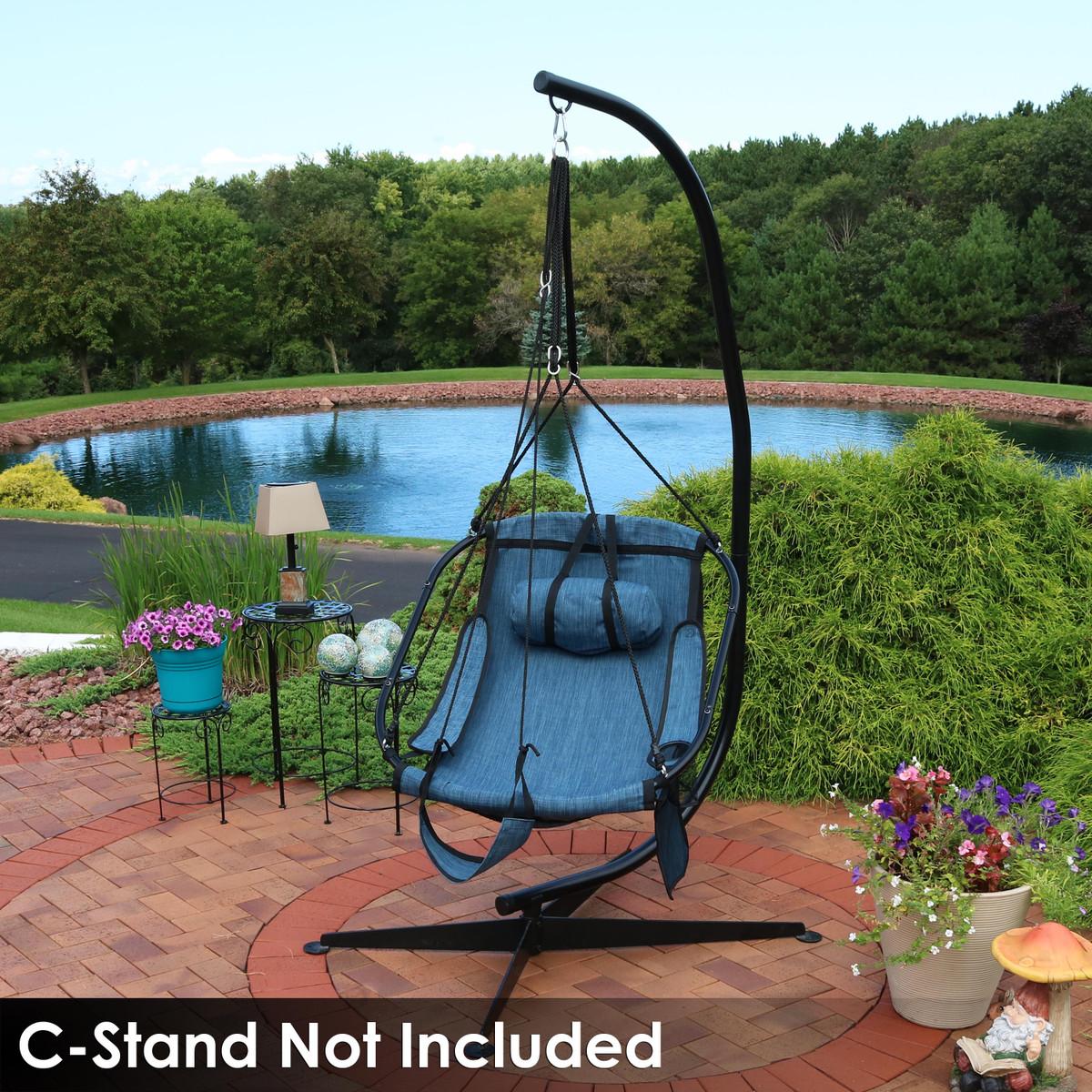 Sunnydaze Hanging Hammock Chair Swing Armrests Drink