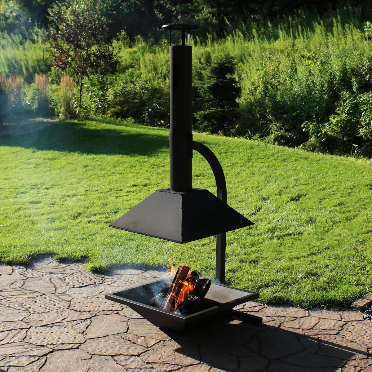 Sunnydaze Black Steel Outdoor Wood Burning Modern Backyard