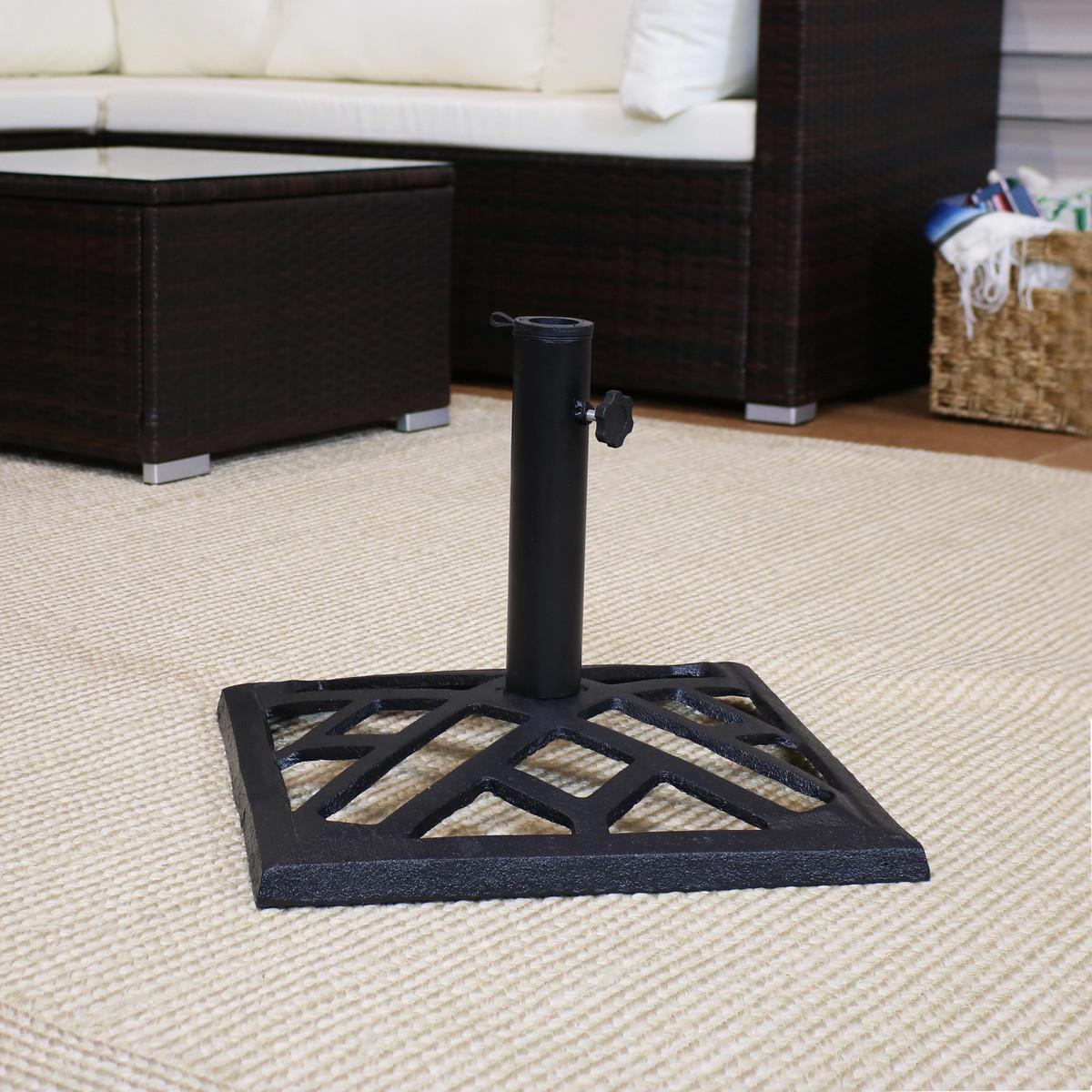 0623cdeafbc1 Sunnydaze Modern Geometric Cast Iron Patio Umbrella Base, 17-Inch Square