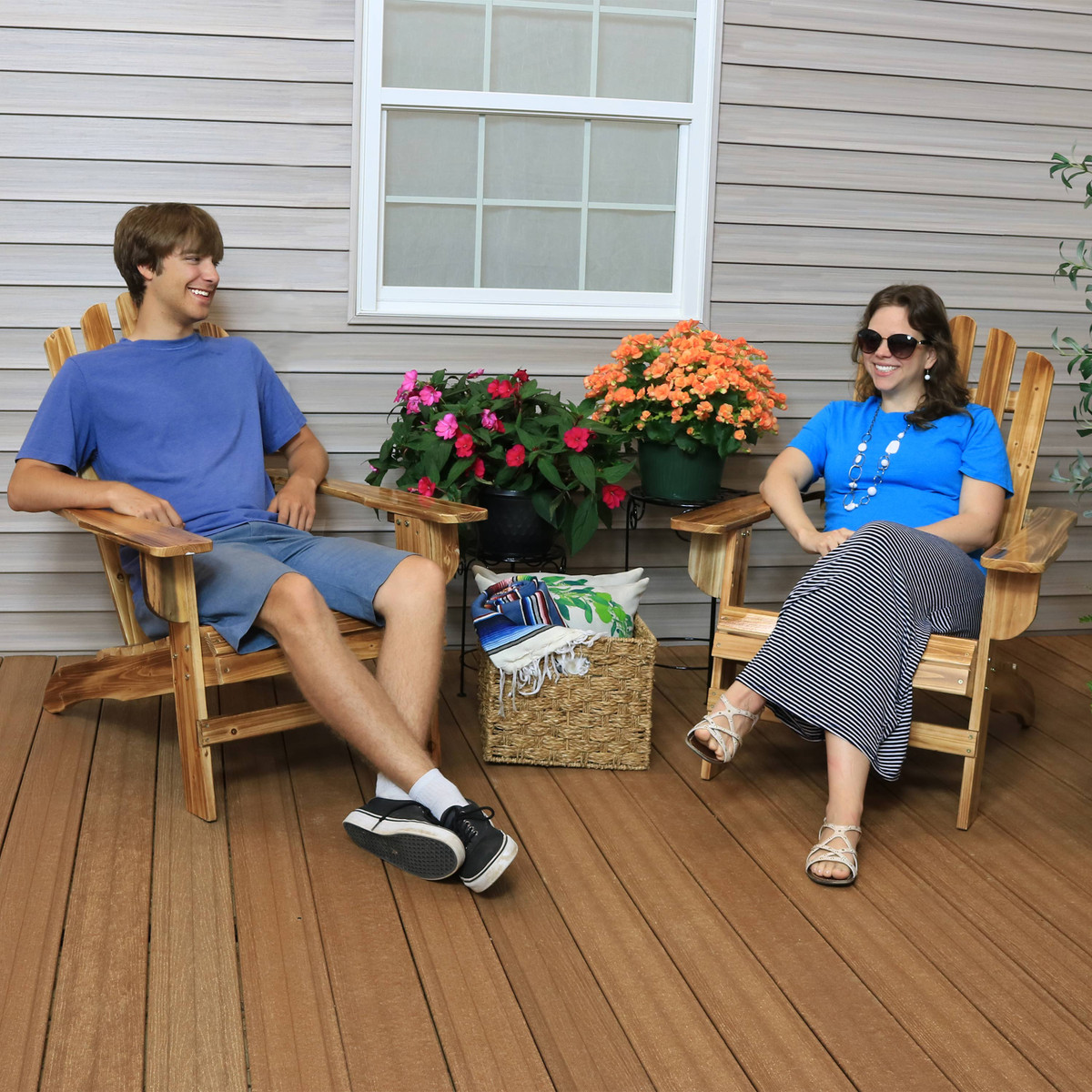 250-Pound Weight Capacity Sunnydaze Rustic Wooden Adirondack Chair with Light Charred Finish