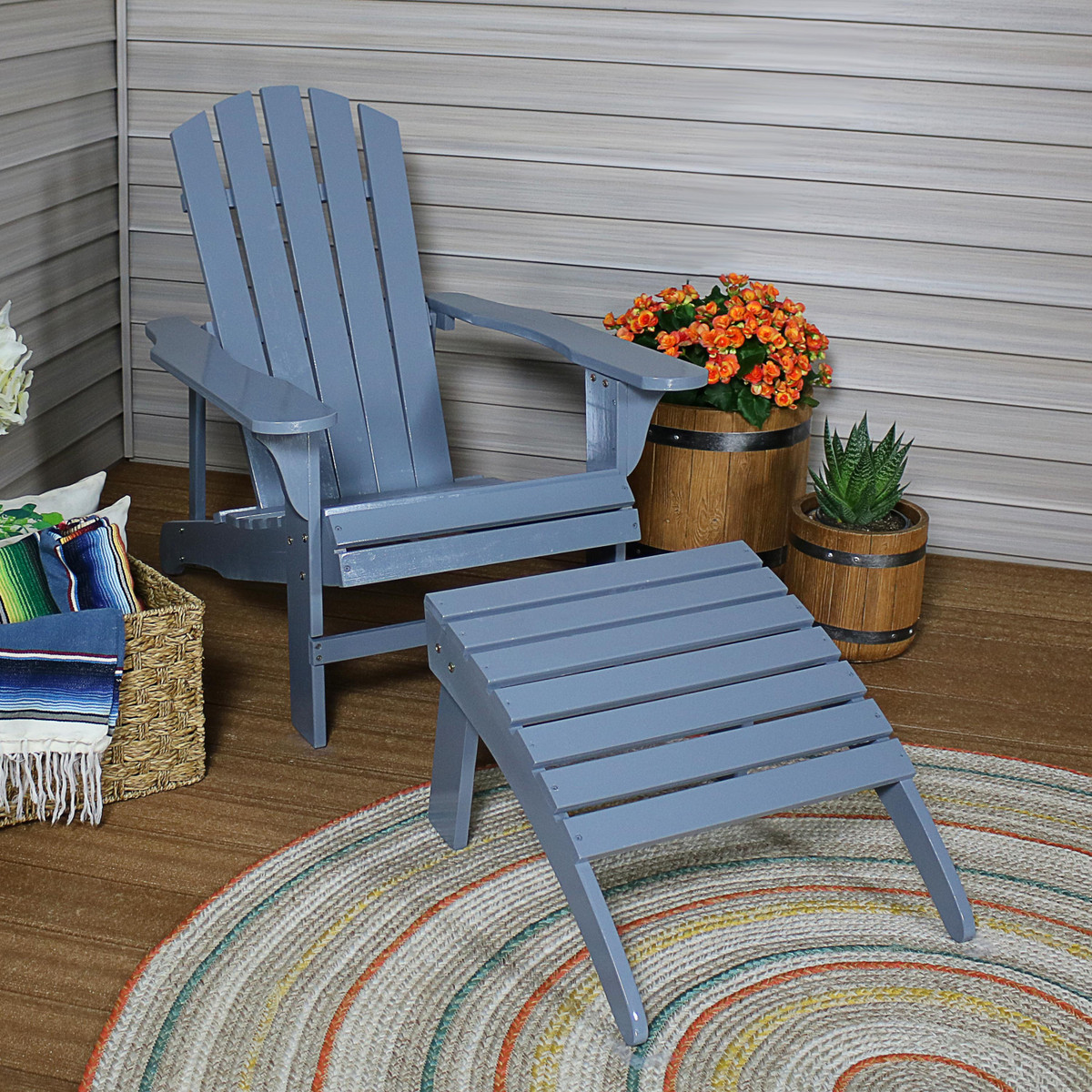 Prime Sunnydaze Classic Wooden Adirondack Chair And Ottoman Set Gmtry Best Dining Table And Chair Ideas Images Gmtryco