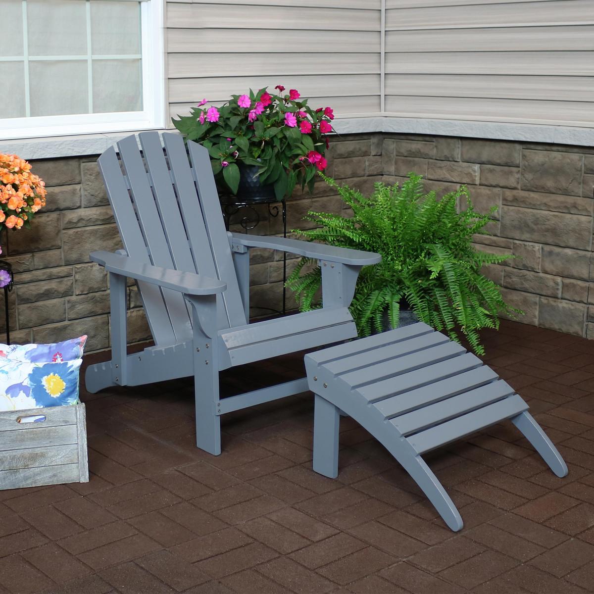 Miraculous Sunnydaze Wooden Outdoor Adirondack Chair With Adjustable Machost Co Dining Chair Design Ideas Machostcouk