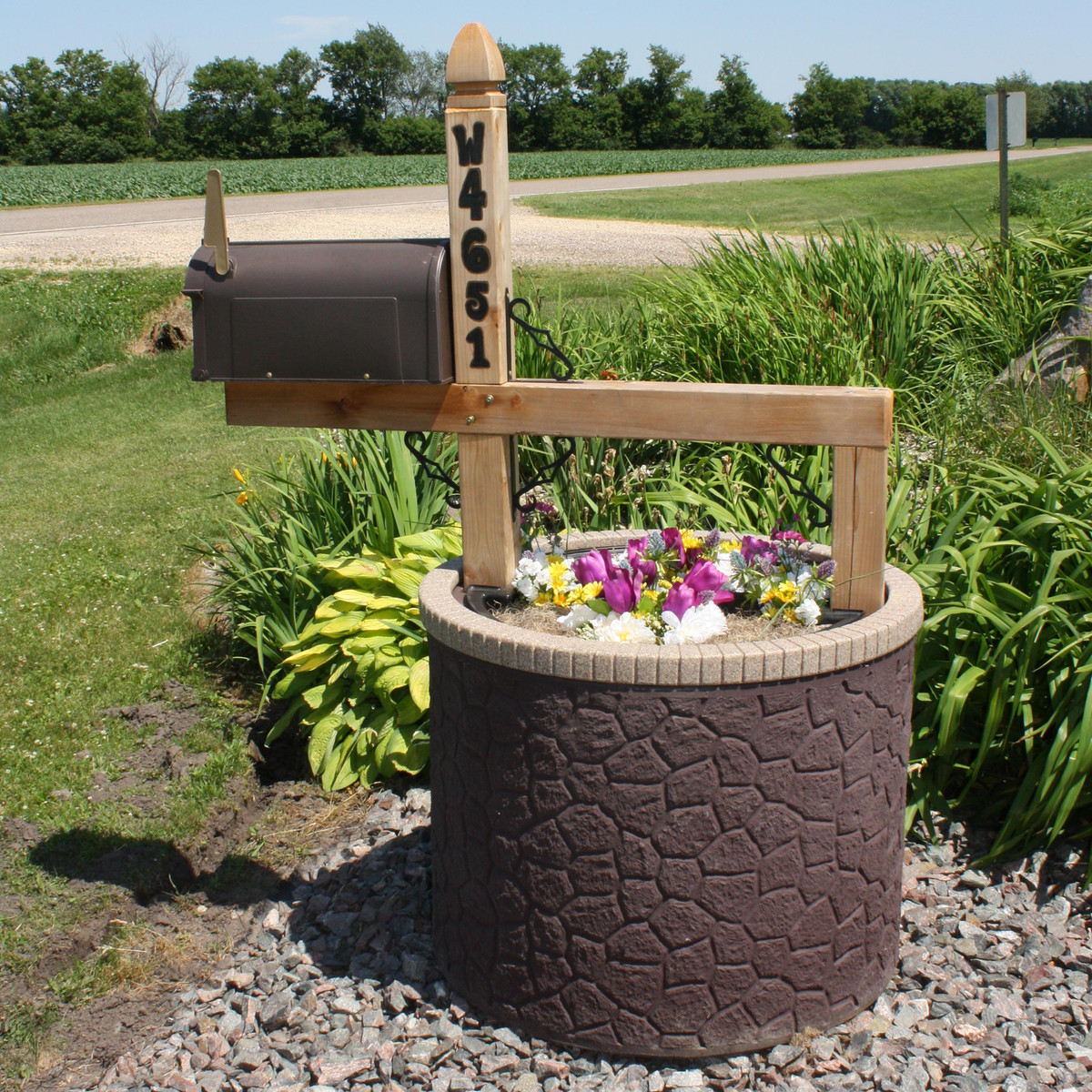 Tanktop Covers Mailbox Post Planter Kit Decorative 35 Inch Round Base Flowerbed