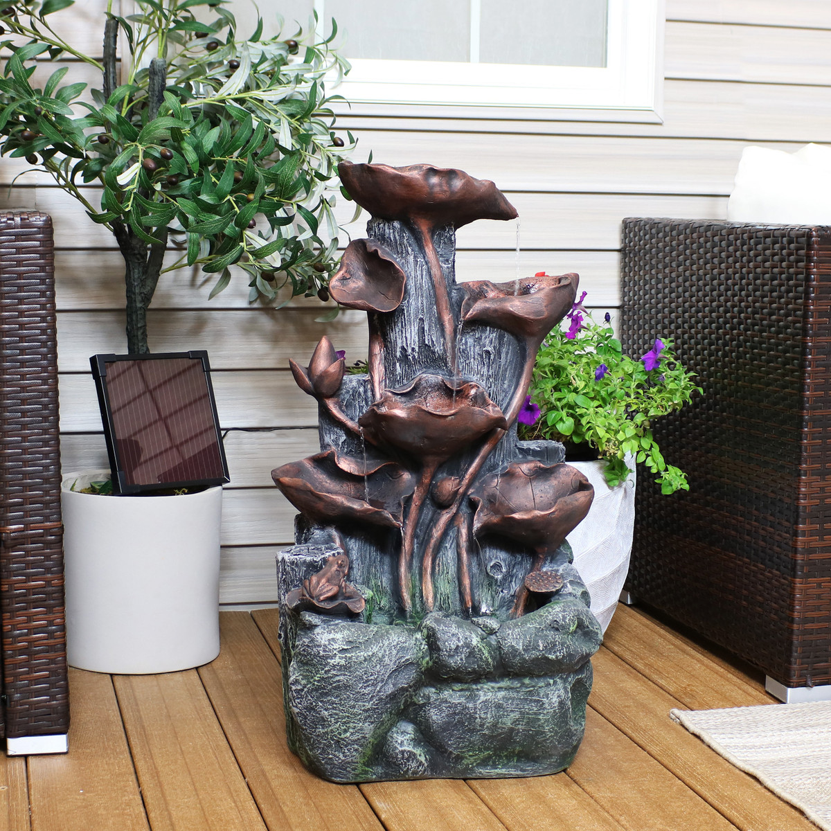 Cascading Water Fountains Outdoor.Sunnydaze Outdoor Tiered Driftwood And Flourishing Stems