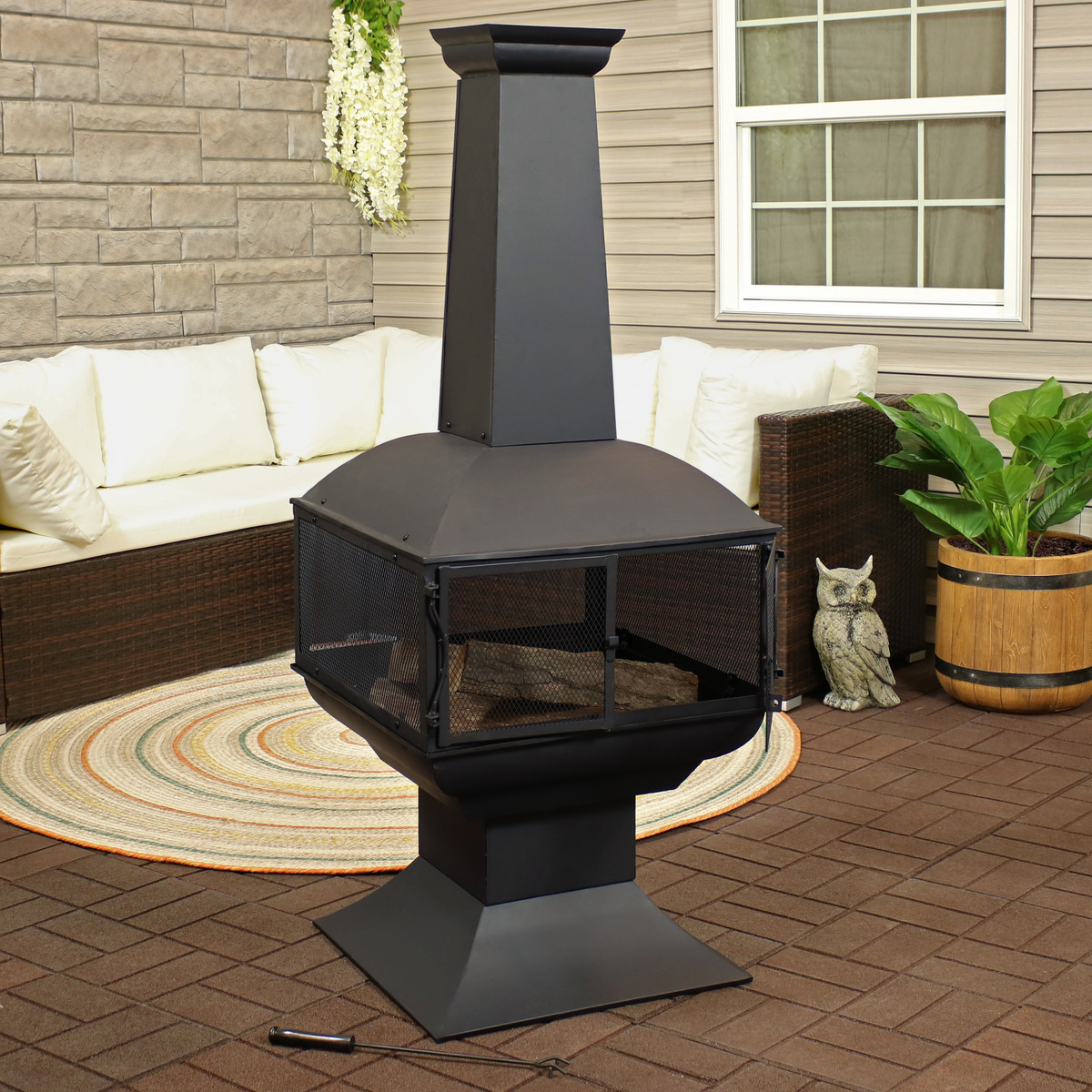 Sunnydaze Black Steel Wood Burning 360 Degree View Outdoor Chiminea Fire Pit With Poker 57 Inch