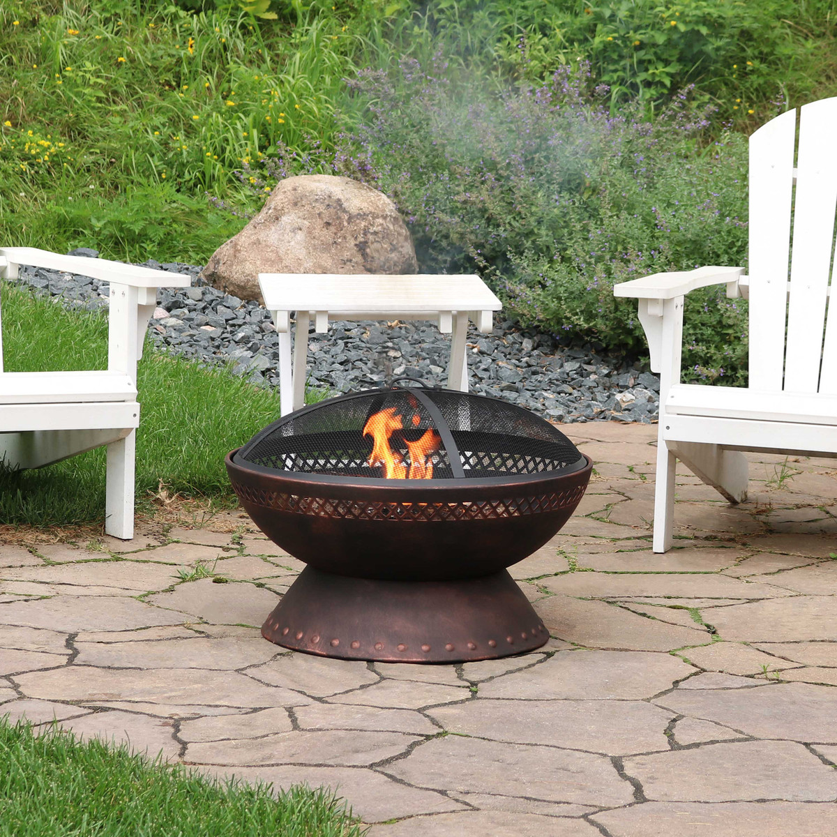 Sunnydaze Chalice Steel Outdoor Wood Burning Fire Pit With Copper Finish 25 Inch Diameter