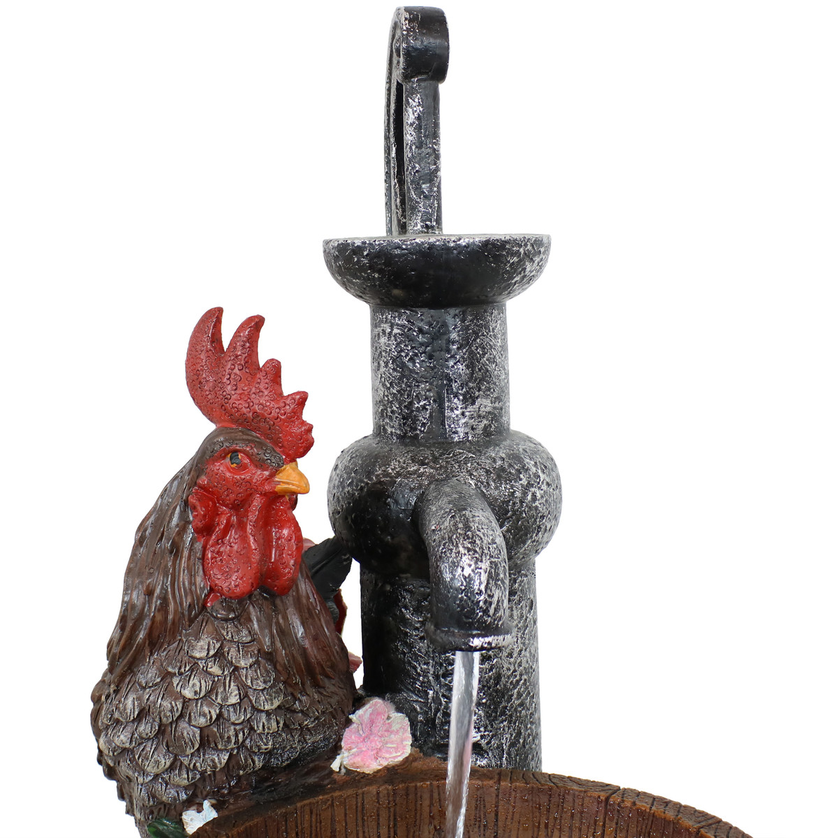 17-Inch Sunnydaze Country Rooster Water Break Tabletop Fountain