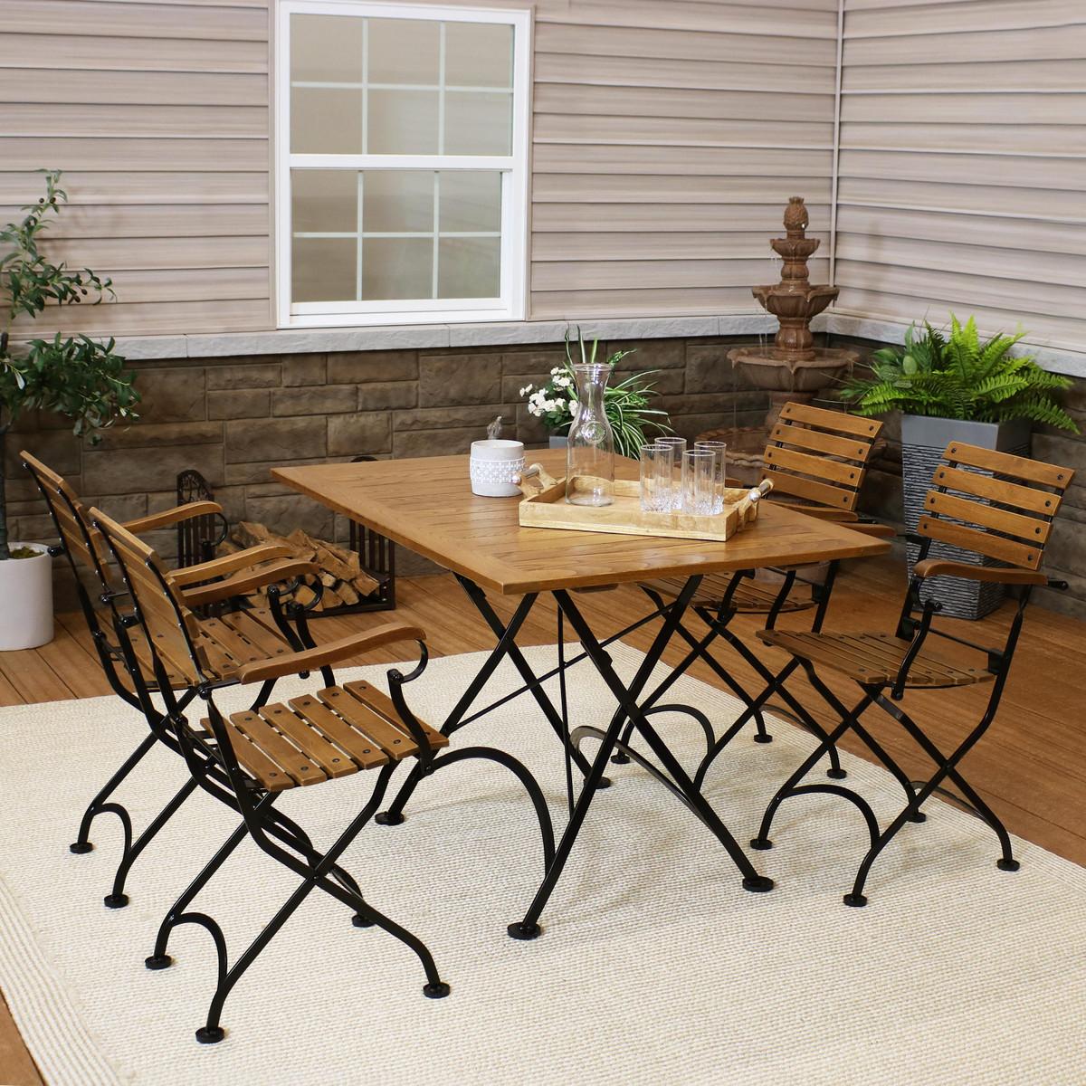 Sunnydaze Essential European Chestnut Wood 5 Piece Folding Table And Chairs Set