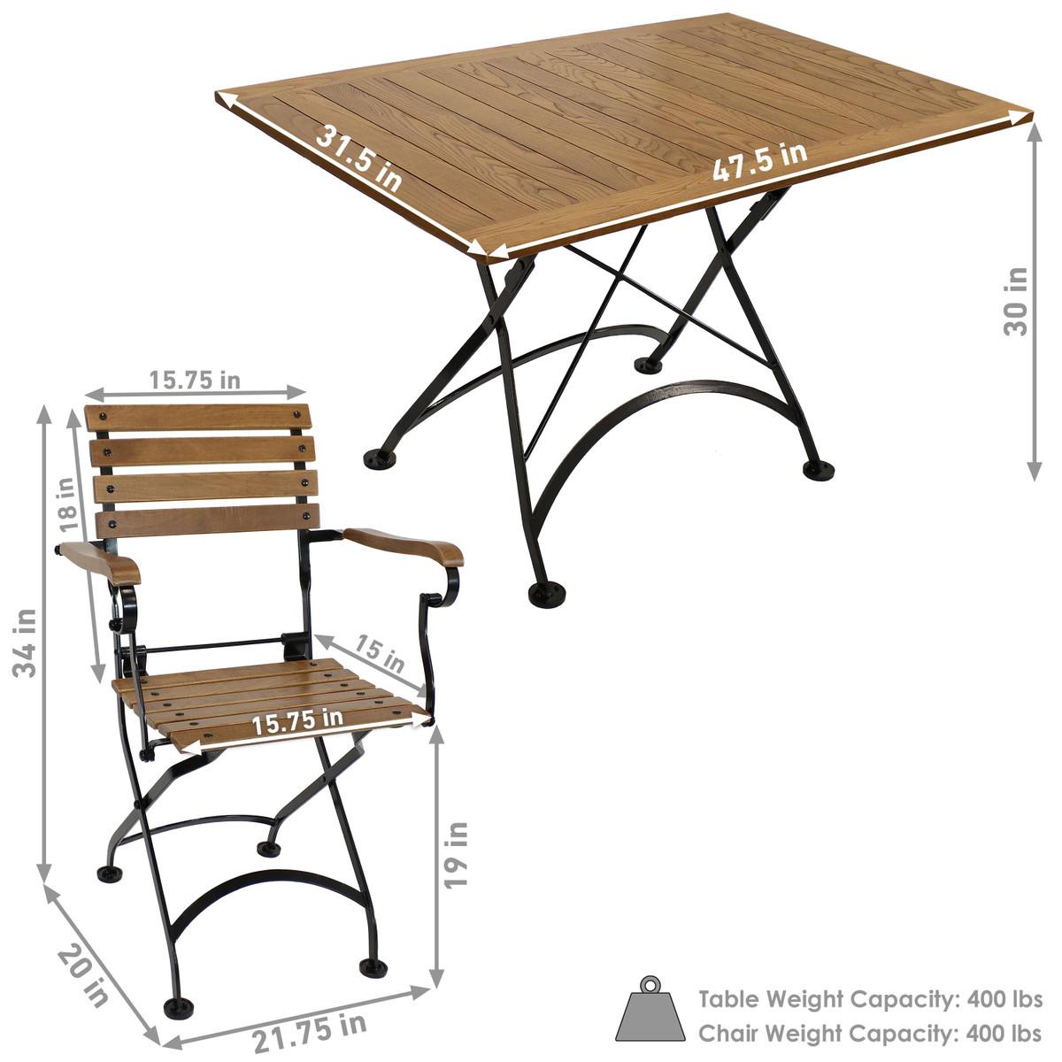 - Sunnydaze Essential European Chestnut Wood 5-Piece Folding Table
