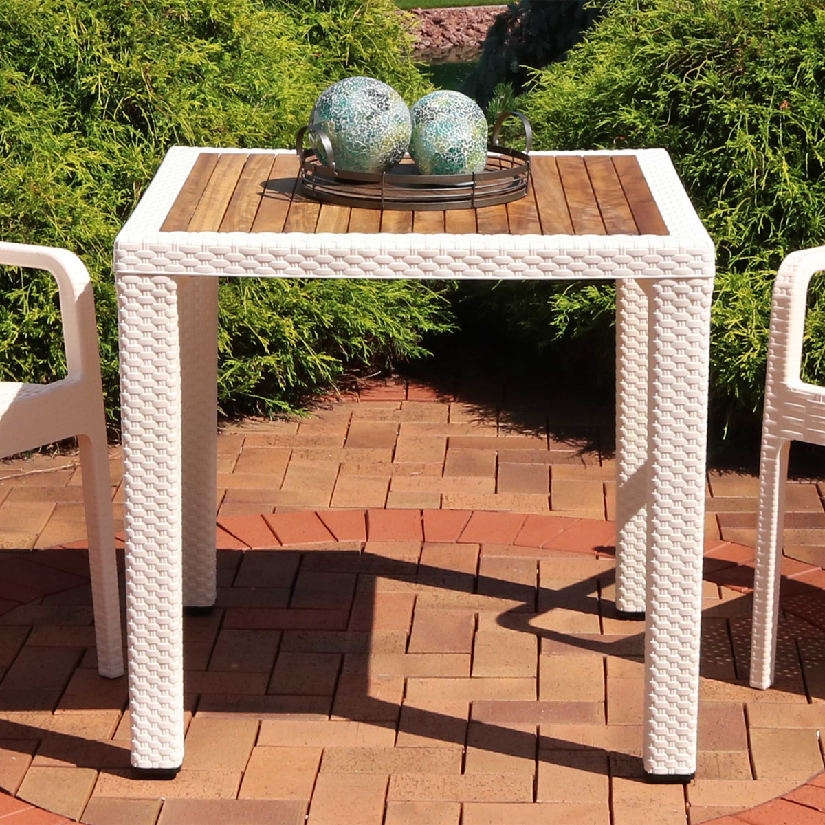 Sunnydaze All Weather Square Plastic Patio Dining Table With Faux Wicker Design Balcony Deck Dining Room Cream With Wood Color Top 32 Inch