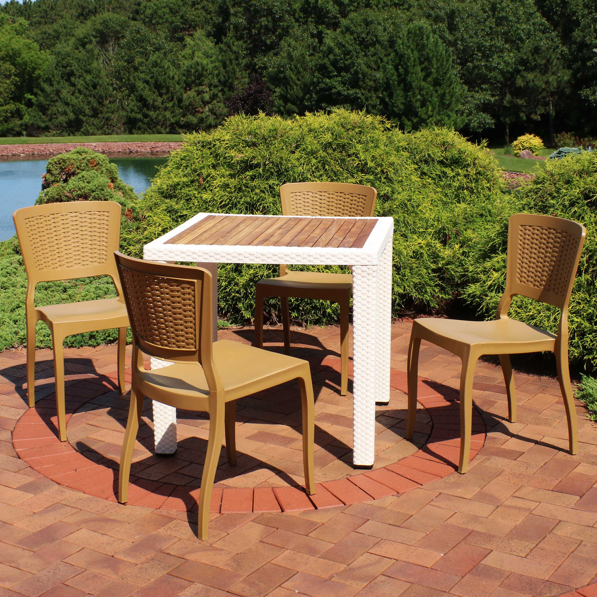Sunnydaze All Weather Hewitt 5 Piece Patio Furniture Dining Set Commercial Grade Indoor Outdoor Use Wood Color